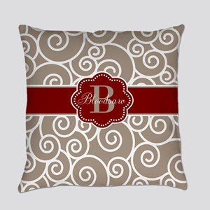 Beige Red Swirl Personalized Everyday Pillow